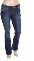 ZCO Dark Blue Embellished Button-Pocket Jeans - Plus
