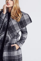 BCBGeneration Plaid Wrap Coat - Gray