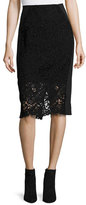 Rebecca Taylor Vien Lace Pencil Skirt, Black/Navy