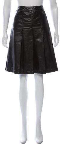 6ed878886cb4 Black Leather Pleated Skirt - ShopStyle