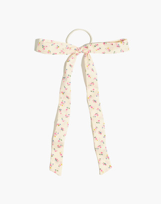 Madewell Linen Bow Hair Tie in Neon Buds