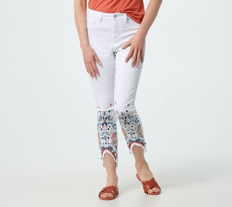 Laurie Felt Petite White Daisy Denim Slim Leg Jeans with Embroidery