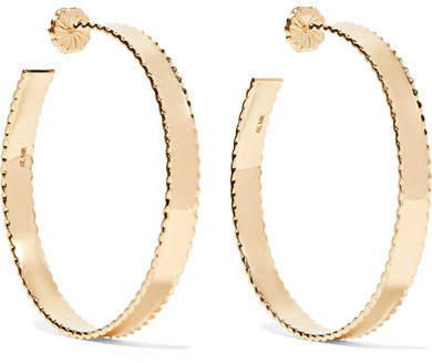 Alison Lou Thin Lasagne 14-karat Gold Hoop Earrings