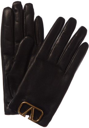 Valentino Vlogo Cashmere-Lined Leather Gloves