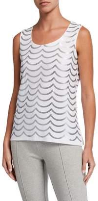 Joan Vass Plus Size Sequin Wave Cotton Shell
