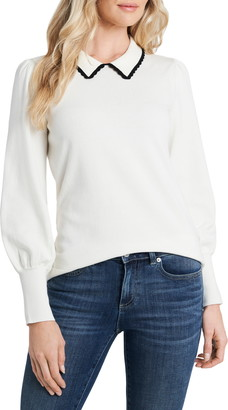 CeCe Collared Bishop Sleeve Cotton Blend Sweater