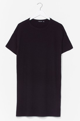 Nasty Gal Womens From Our Perspective Ribbed Tee Dress - Black - 8