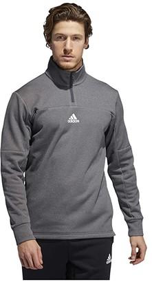 adidas Game Go Pullover 1/4 Zip (Dark Grey Heather/Solid Grey/Dark Grey Heather/Solid Grey/White) Men's Clothing