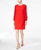 Donna Ricco Pleated-Sleeve Shift Dress