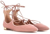 Aquazzura Christy Flat Velvet Ballerinas