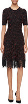 Lela Rose Speckled-Tweed Lace-Hem Dress, Black/Coral