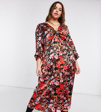 Vero Moda Curve midi dress in bold red floral