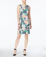 Nine West Floral-Print Piped Sheath Dress