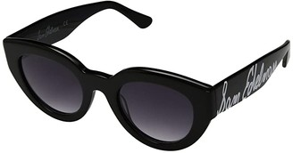 Sam Edelman Oversized Plastic Cat Logo Temple (Black) Fashion Sunglasses