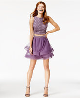 City Studios Juniors' 2-Pc. Crochet A-Line Dress