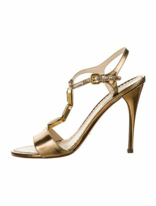 Prada Patent Leather Crystal Embellishments T-Strap Sandals Gold
