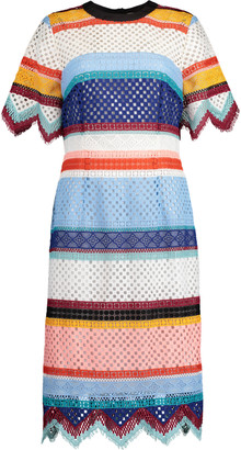 Carolina Herrera Color-Blocked Guipure Lace Dress