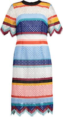 Carolina Herrera Color-Blocked Guipure Lace Dress