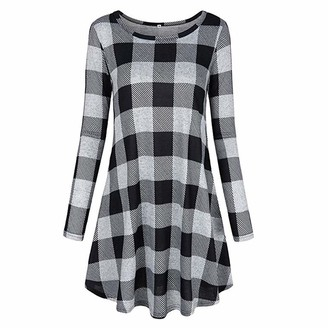 MINGCHIU Skirts for Women Long Sleeve O-Neck Plaid Color Block Casual Loose Fit Tunic Dress Summer Dresses for Women Maxi Skirts for Women Plaid Skirts for Women Skirts for Women Plus Size S-2XL Red