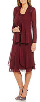 S.L. Fashions Sequined Lace Chiffon Jacket Dress