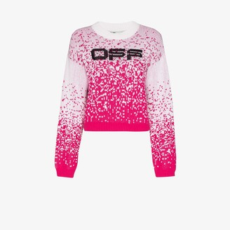 Off-White Speckled Logo Intarsia Sweater