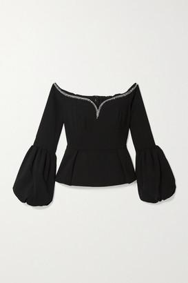 Self-Portrait Off-the-shoulder Embellished Crepe Peplum Top - Black