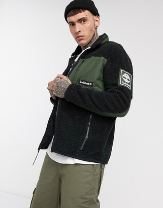 Timberland borg patch pocket fleece jacket in black