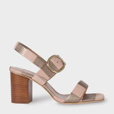 Paul Smith Women's Taupe Metallic Stripe Nubuck 'Roz' Heeled Sandals