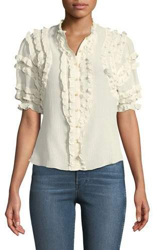 Rebecca Taylor Short-Sleeve Ruffled Voile Top