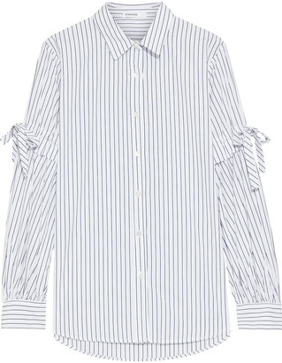 Stateside Bow-detailed Pinstriped Cotton-poplin Shirt