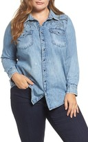 Lucky Brand Plus Size Women's Embroidered Denim Shirt