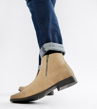 Asos Design ASOS Wide Fit chelsea boots in stone faux suede with zips