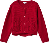 Absorba Red Pointelle and Pom Pom Cardigan