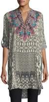 Tolani Skyler Long Ikat-Print Silk Tunic