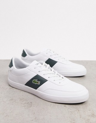 Lacoste court master stripe sneakers in white green leather