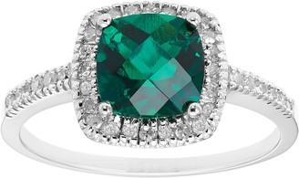 Lab-Created Emerald 10K Gold & 1/5 Carat T.W. Diamond Frame Ring