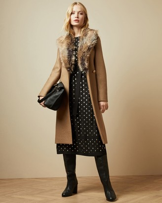 Ted Baker Faux Fur Collar Wrap Coat