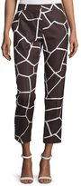 Escada Mid-Rise Giraffe-Print Cropped Pants, Mocca