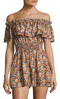 Rebecca Taylor Moonlight Floral Silk Off-The-Shoulder Romper