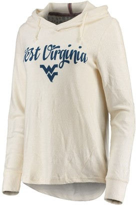 Women's Pressbox Cream West Virginia Mountaineers Supersoft Cuddle Knit Pullover Hoodie