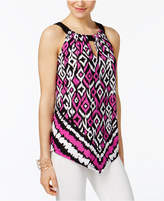 INC International Concepts Petite Handkerchief-Hem Printed Halter Top, Only at Macy's