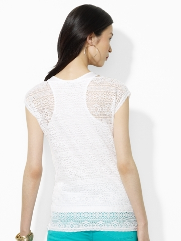 Lauren Ralph Lauren Ralph Crocheted Cotton Boatneck Tee