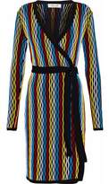 Diane von Furstenberg Color-Block Ribbed Merino Wool-Blend Wrap Dress