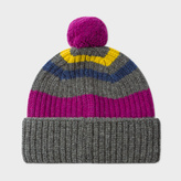 Paul Smith Men's Grey Striped Lambswool Bobble Hat