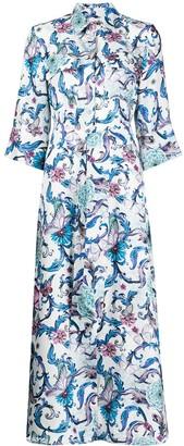 813 Floral-Print Belted Shirt Dress