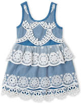 Baby Sara Infant Girls) Lace Chambray Tier Dress
