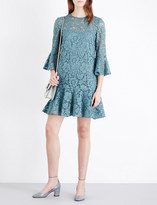 Valentino Bell-sleeve floral-lace mini dress