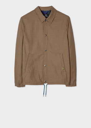 Men's Tan Puppytooth Coach Jacket