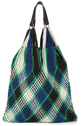 By Malene Birger Liv checked woven tote