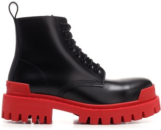 Balenciaga Strike Contrast Sole Lace-Up Boots